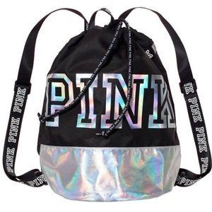 💄RARE💄VS PINK Metallic Drawstring Backpack
